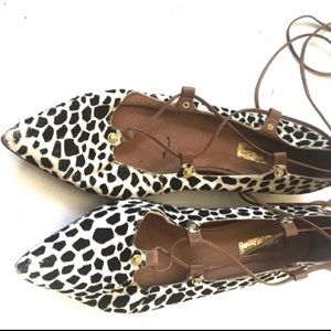 Halogen lace up animal print flats 7.5